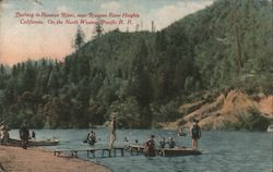 Bathing in Russian River. On the North Western Pacific R.R. Postcard