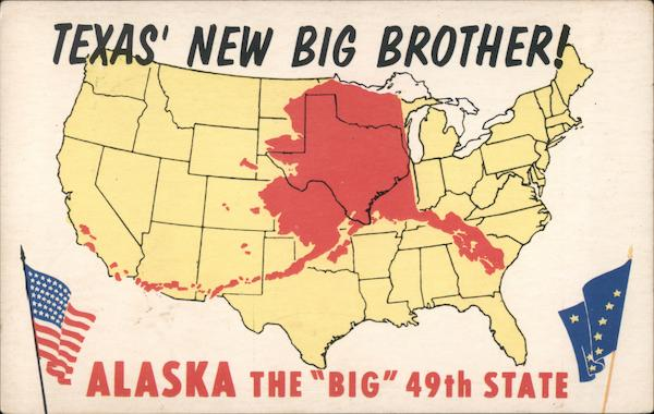 Texas' New Big Brother! Alaska the big 49th state. Size comparison map, flags