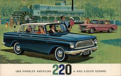 1963 Rambler American 220 4- and 2-door sedans. Paddle boat in background Postcard
