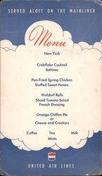 United Air Lines Menu Served aloft on the Mainliner Postcard