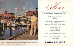 United Air Lines Menu. Fishing Fleet at Gloucester Harbor, Massachusetts. Postcard