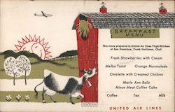 United Airlines Breakfast Menu. Postcard