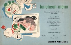United Airlines luncheon Menu Postcard