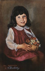 V. Burtchby portraits in oil Little girl with basket of flowers signed Oil Portraits by V. Burtchby Postcard