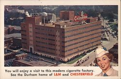 L&M and Chesterfield Cigarette Factory Postcard