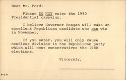 Dear Gerald Ford, We Don't Want You in 1980 Postcard