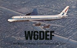 Radio W6DEF confirmation card. United Air LInes DC-8 Jet Mainliner Postcard