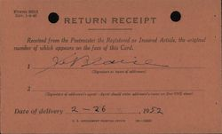 Post Office Department return receipt Postcard