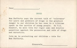 Anti-Drug Max Rafferty for U.S. Senator. Election Vote request Postcard