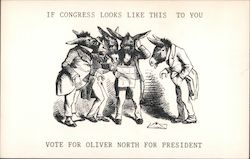 If Congress looks like this to you, vote for Oliver North for President. Dressed donkeys confused. Postcard