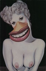 Cutie Duck by Neon Park. Nude woman with duck beak and teeth Postcard