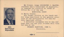 Judge Sylvester J. McAtee, candidate for Judge of Office No 2 Municipal Court Postcard