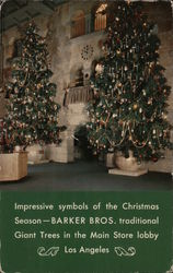 Barker Bros. Giant Christmas trees in the main store lobby. Postcard