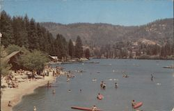 Lake Gregory, beach, canoes, swimmers. Man Made lake project of WPA Postcard