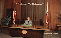 Welcome to California. Goodwin V. Knight, Govenor Postcard
