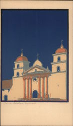 View of Santa Barbara, Calif Serigraph Postcard