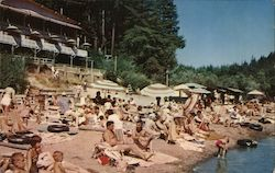 Guernewood Tavern Beach, Russian River, sunbathers, swimmers Postcard