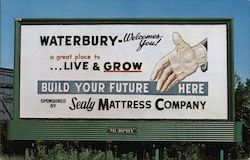 Billboard sign sponsored by Sealy Mattress Company. Waterbury welcomes you!