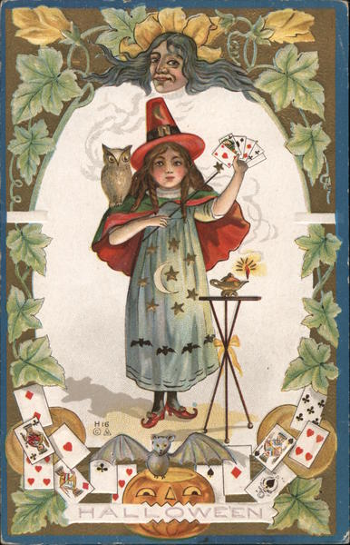 H16 Halloween: girl with cards, owl, lamp, and magic wand