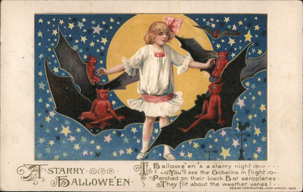 A strarry Hallowe'en. Girl, bats, red demons, moon