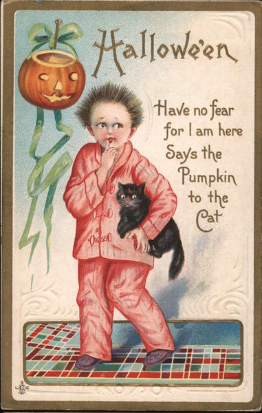Halloween Have no fear for I am here Syas the Pumpkin to the Cat