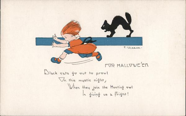For Hallowe'en: Black cats go out to prowl / On this mystic night