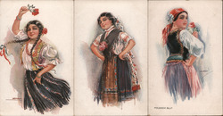 Set of 3: Women in Native Costumes Postcard