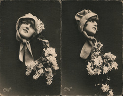 Set of 2: Fade Away Woman with Flowers Postcard