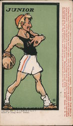 Blimline & Co. makers of College Brand Clothes. Cartoon of Junior throwing discus. Postcard