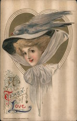 A Token of Love - Big Hat With Bird. Embossed Postcard