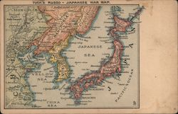 Tuck's Russo - Japanese War Map Postcard