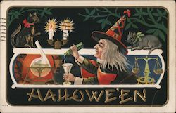Halloween - A Witch Making a Potion Postcard