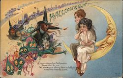 H-12 HALLOWEEN poem plus drawing - eerie demons, witches, moon and frightened cuddling adults sitting on crescent moon Postcard