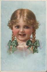 Smiling girl with braids Postcard