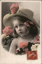 Colorized photo of little girl big hat pink flowers,Clairotte on hat Postcard