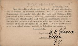 FDR Request for political support in defeating a bill in New York, 1913 Postcard