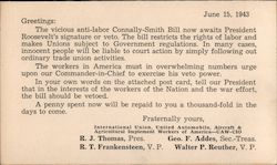 Anti-Labor Connally-Smith Bill vote No. mailed to President Franklin D. Roosevelt Postcard