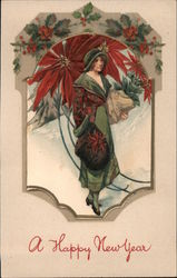 Happy New Year - Woman in a Poinsettia Patterned Coat Postcard