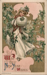 With best New Year wishes. Embossed Postcard