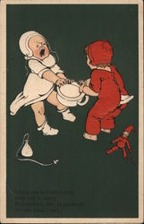 Two crying children fighting over potty pot. Johnny says he'll have first go, Susie says he shan't: Postcard