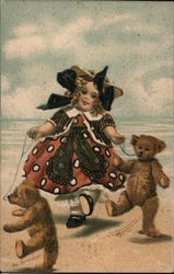 Girl walking toy bears along beach Postcard