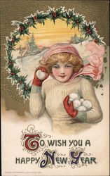 To Wish you a happy New year. Girl with snowballs Postcard