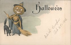 Hallowe'en (pumpkin-head witch with broom and cat) Postcard