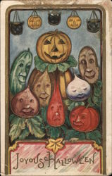 Joyous Halloween - Jack-o-lanterns from different vegetables Postcard