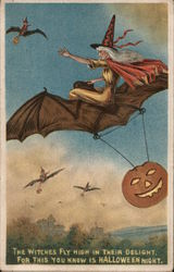Rare: The witches fly in their delight for this you know is Halloween night Postcard