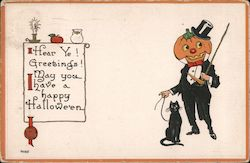 Jack o' Lantern in Top Hat and Tails with Black cat send Halloween Greetings Postcard