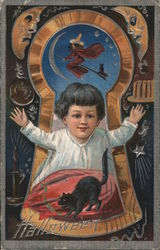 Halloween child and black cat Postcard