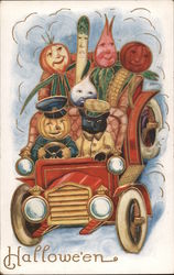 Hallowe'en (vegetable people and cat riding in car) Postcard
