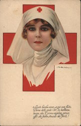 Red Cross nurse, red cross background. Signed Nanni Postcard