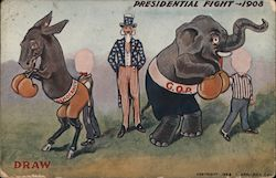 Presidential Fight 1908 - Democracy-G.O.P., Draw the Faces Postcard